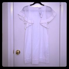 J Crew dot flounce dress BNWT J Crew retail store dress. Super cute with the Swiss dot detailing. The sleeves are sheer but the body of the dress is lined. Love this dress, but it's been hanging in my closet for far too long without getting the love it deserves! J. Crew Dresses