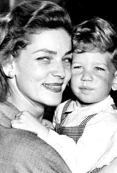 Lauren Bacall with son Stephen, 1951.