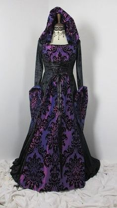 purple flocked taffeta and black velvet dress with hood