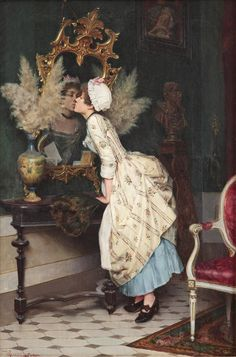 A Kiss in the Mirror by Pietro Torrini (1852-1920) | Caroline was all too aware that to love oneself is to begin a lifelong romance,