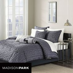@Overstock - Soho is the perfect comforter set that fits your contemporary lifestyle. This comforter with shams, bedskirt and pillows is constructed of soft jacquard polyester fabric and the twilight color adds a pop color to your modern room.  http://www.overstock.com/Bedding-Bath/Madison-Park-Soho-Twilight-7-piece-Queen-size-Comforter-Set/5955605/product.html?CID=214117 $92.25