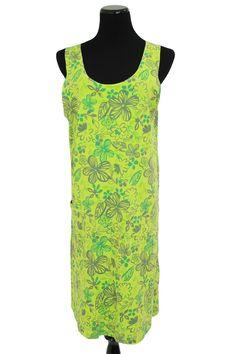 Fresh Produce Green Fl Print Tank Dress Beach Cover Wpocket Size L