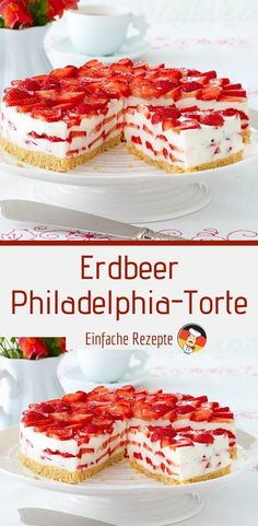 DELICIOUS Strawberry Philadelphia Cake- LECKER Erdbeer-Philadelphia-Torte Ingredients for 12 pieces 150 g sponge biscuits 80 g butter 10 sheets of white gelatin 800 g strawberries - Easy Cookie Recipes, Healthy Dessert Recipes, Snack Recipes, Philadelphia Torte, Cake Mix Cookies, Chocolate Chip Recipes, Cookies Ingredients, Food Cakes, Cheesecake Recipes