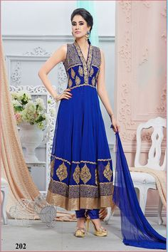 Fabulous designer blue #anarkalisuits with 33% discount