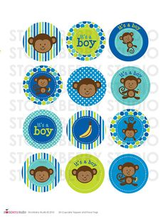 Hey, I found this really awesome Etsy listing at https://www.etsy.com/listing/202086832/2-inch-boy-monkey-baby-shower-printable
