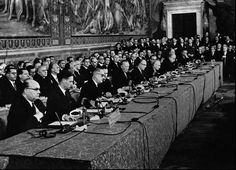 The delegates meet to ratify the treaty in Rome's ancient city hall.
