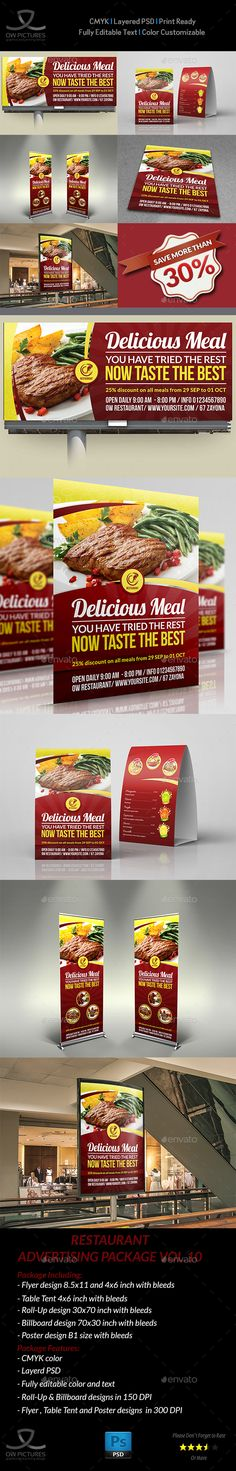 Restaurant Advertising Bundle Template Vol.10 - Signage Print Templates