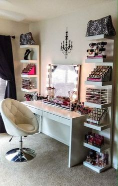 Modern Glam Makeup Vanity and Storage Shelves Love the chandelier wall sticker!