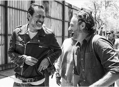Jeffrey Dean Morgan and Andrew Lincoln laughing on set