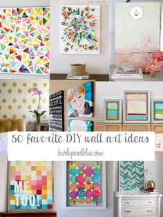50 DIY wall art tutorials - burlap and blue