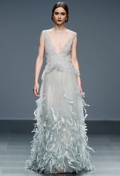 Marco & Maria feather wedding dress