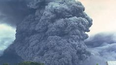 A pyroclastic flow sweeps down the SE flank of Mayon volcano in the Philippines on September 24, 1984. A thick column of ash rises above the surface of the moving pyroclastic flow, which was the largest of a series of pyroclastic flows that occurred during an eruption that began on September 9. Flow velocities of 50 m/sec were estimated from timed 35-mm photographs. The pyroclastic flow traveled 7 km from the summit vent
