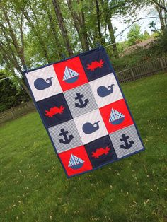 Wish id seen this earlier!! Nautical Toddler Quilt by emmieshandmade on Etsy...if I have a baby boy I want his room to be nautical!