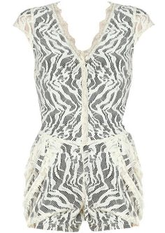 @Holly StClair ... Vintage Lace Playsuit: Features a scalloped V-neckline framed by charming cap sleeves, gorgeous beige lace shell peppered with wavy decor atop a contrast liner, sheer upper back, convenient multi-layered side pockets, and sexy romper shorts to finish.