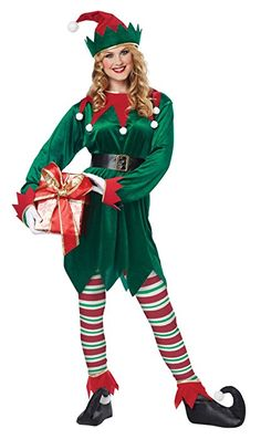 California Costumes Christmas Elf Adult, Green/Red, X-Large Tunic Hat Belt Shoe covers Tights Diy Elf Costume, Santa's Helper Costume, Apple Costume, Santa Costume, Christmas Elf Costume, Christmas Costumes, Halloween Kostüm, Halloween Costumes, Costume Lutin