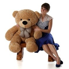4 Foot Huge Stuffed Bear Amber Brown Color Smiley Face Plush Teddy Bear Toy Shaggy Cuddles >>> You can find more details by visiting the image link.