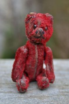 RARE OLD VINTAGE ANTIQUE SCHUCO MINIATURE 3½ SCARLET RED TEDDY BEAR 1920-30s