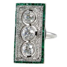 Large Rectagular Art Deco Diamond and Emerald Ring