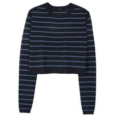 TIBI Nautical Stripe Cropped Pullover ($86) ❤ liked on Polyvore featuring tops, sweaters, shirts, jumpers, black multi, stripe shirt, striped shirt, nautical striped sweater, nautical striped shirt and nautical stripe sweater