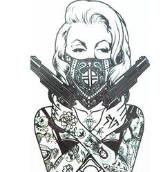 Guns Blazin Girl Temporary Tattoo