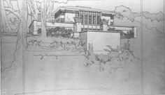 Perspective. Thomas P Hardy House. 1905. Racine, Wisconsin. Frank Lloyd Wright. Prairie Style.