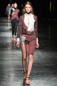 Prabal Gurung takes simple prairie patterns and tailoring and makes an oddly bold look out of them with mildly asymmetrical smears of traditionally tailored lines and florals.  Prabal Gurung Fall 2014 Ready-to-Wear Collection Slideshow on Style.com
