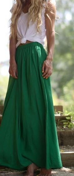 Green maxi skirt + loose tee tied. white top blouse long emerald women fashion clothing outfit style apparel