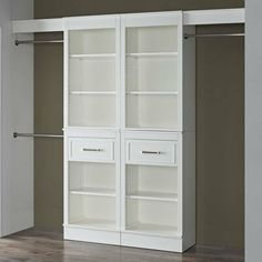 Latitude Run Tarnby Double Closet System Closet Shoe Storage, Closet Shelves, Closet Organization, Modular Closet Systems, Modular Closets, Corner Closet Organizer, Corner Storage, Front Closet, Double Closet