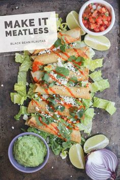 Just had Flautas the other day for the first time I will make these before long. Black Bean Flautas with Avocado Dipping Sauce Mexican Food Recipes, Vegetarian Recipes, Cooking Recipes, Healthy Recipes, Clean Eating, Healthy Eating, Guacamole, Frijoles Refritos, Good Food