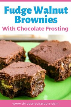 Learn how to make the best fudgy walnut brownies from scratch. This easy homemade recipe uses cocoa powder, chocolate chips and butter (not oil) for chewy, gooey brownies that are way better than from a box mix. These brownies are topped with a simple and tasty chocolate buttercream frosting. Gooey Brownies, Chocolate Brownies, Chocolate Desserts, Chocolate Chips, Brownie Frosting, Chocolate Buttercream, Buttercream Frosting, Brownie Recipes, Cookie Recipes