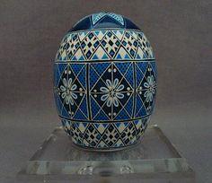 Turkey Egg Pysanky - Blue and White Daisy. $70.00, via Etsy.