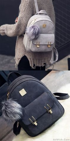 a5313b7e14 Leisure Frosted PU Zippered Bag With Metal Lock Match School Backpack Cute  Bags
