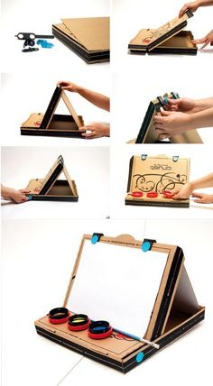 Make from pizza box, game for your kids. With pleasure your children will help you.
