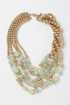 Frosted Seawater Necklace #anthropologie-- Bold Gem statement necklace ! This would be the talk of any outfit. You can also make this the focal point if you are dressed casually.