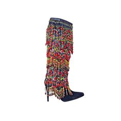 Vintage Todd Oldham over-the-top heavily beaded boots. Italy.
