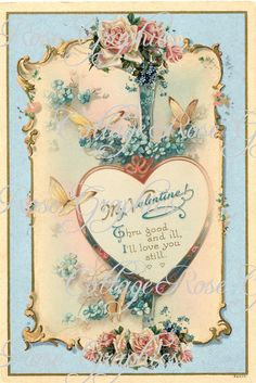 My Hearts Desire Vintage Valentine download by CottageRoseGraphics, $3.75