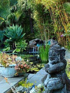 Garden And Lawn , Exotic Tropical Garden Designs : Tropical Garden Designs With Pond And Balinese Statue