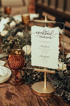 Cocktail Hour menus By curateeventdesign.