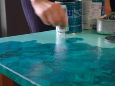 AUH-mazing. DIY Faux Malachite  (to me its like a faux colored marble type finish) click to look at the finished product!