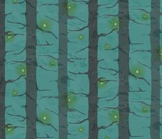 Lightning Bugs Amongst Forest Pines fabric by audsbodkin on Spoonflower - custom fabric