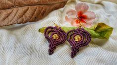 macrame earrings, dark purple earrings, macrame jewelry, dangle & drop earrings, tribal earrings, boho earrings, brass beads, gypsy chic by NarkisMacrame on Etsy