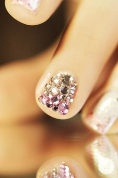 Champagne Jeweled Nails.