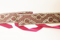 Maroon rhinestones embellished with delicately beaded embroidery. floral design with golden/maroon sequin and stone work. Elegant embroidered sash sits on. Bridal Sash, Stone Work, Beaded Embroidery, Floral Design, Zara, Sequins, Elegant, Womens Fashion, Handmade