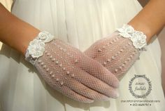 Bridal Gloves,hand-made  Wedding Gloves adorned with pearls and lace flower on Etsy, $35.00