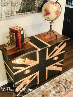 Union Jack Dresser Black and Copper Copper Furniture, Cool Furniture, Painted Furniture, Furniture Ideas, Union Jack Dresser, Union Jack Decor, Best Paint Sprayer, Small Entrance, Wood Accents