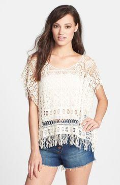Raga Crochet Short Sleeve Poncho available at #Nordstrom