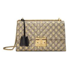 Women's Gucci Medium Padlock Gg Supreme Bee Shoulder Bag (29.704.400 IDR) ❤ liked on Polyvore featuring bags, handbags, shoulder bags, chain strap shoulder bag, brown shopper bag, brown shoulder bag, over the shoulder bags and shoulder handbags