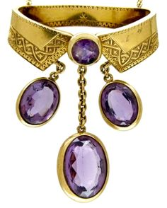1870 Amethyst and Gold Neck Collar