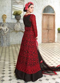 f5eae39ff14 Black and Red Embroidered Long Choli Lehenga in Net