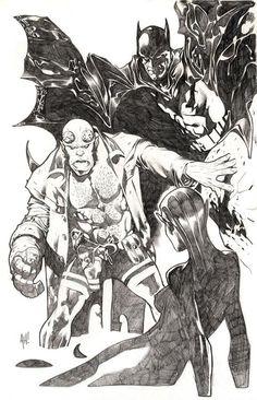 Hellboy & Batman (Sketch) - Adam Hughes